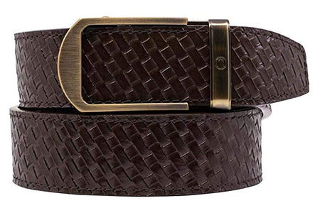 Nexbelt Basket Weave Espresso Embossed Strap Golf Belt
