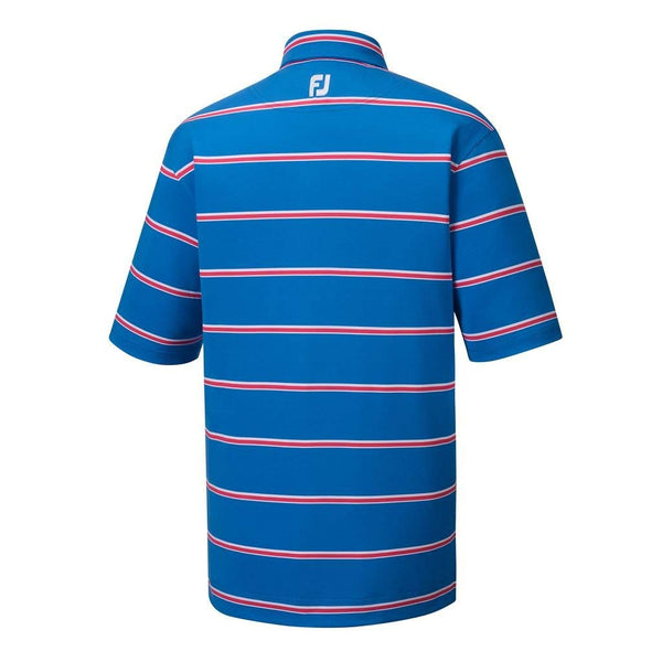 Footjoy Golf Mens Lisle Open Stripe Polo - Blue / Pink