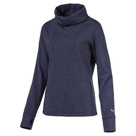 PUMA Golf Women's Cozy French Terry Pullover Shirt Top Peacoat Heather Blue