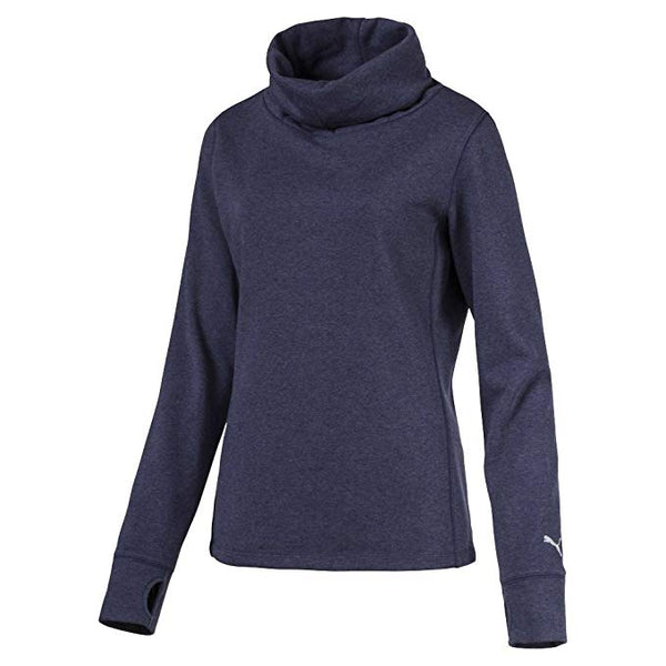 PUMA Golf Women's Cozy French Terry Pullover Shirt Top Peacoat Heather Blue - Golf Country Online