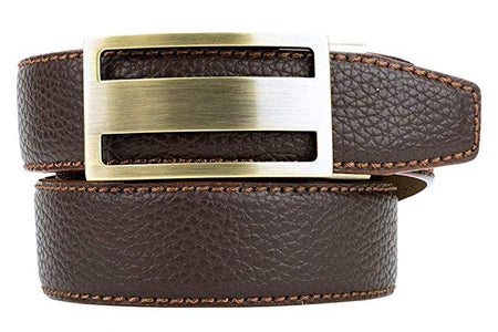 Classic Colour Golf Belt Series Men's Pebble Grain Leather Ratchet Belts BROWN - Golf Country Online