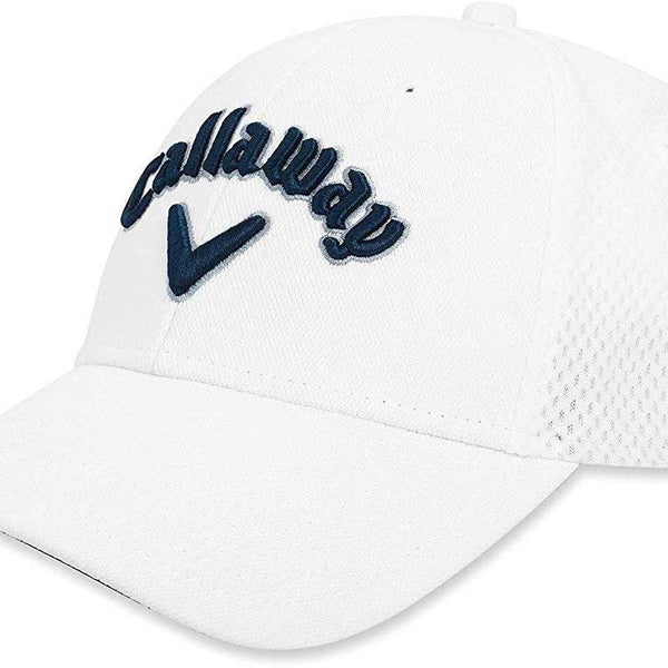 Callaway Golf Mesh Fitted Hat, White/Navy/Silver - Golf Country Online
