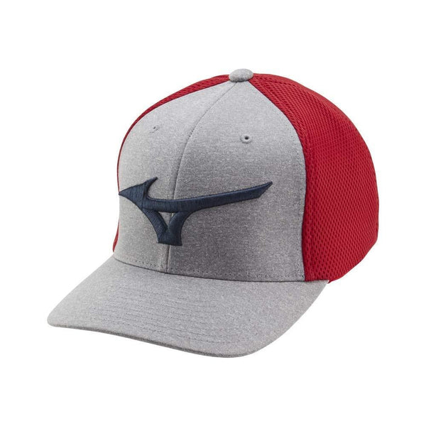 Mizuno Fitted (OSFA) Meshback Golf Hat, Red/Gray - Golf Country Online