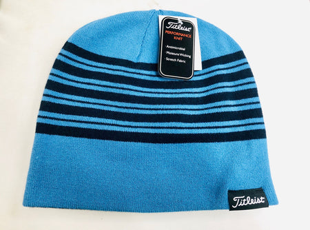 Titleist Lifestyle Reversible Knit Moisture Wicking Beanie Hat Bay Blue/Navy Stripe - Golf Country Online