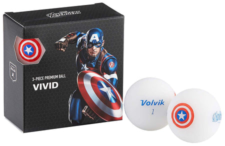 Volvik Vivid Marvel Captain America Golf Balls 4 Pack - Golf Country Online