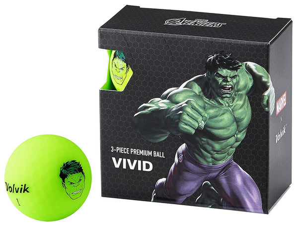 Volvik Vivid Marvel Hulk Golf Balls 4 Pack - Golf Country Online
