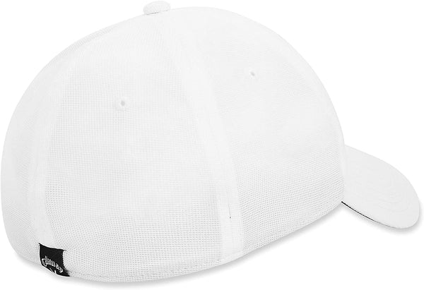 CALLAWAY GOLF STRETCH FITTED HAT/CAP (WHITE/BLACK) - CHOOSE SIZE - Golf Country Online