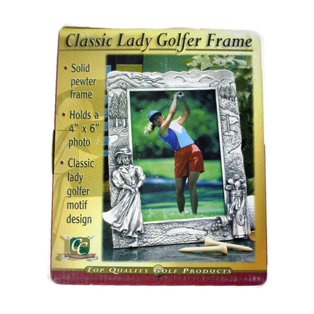 "Golf Gifts & Gallery Classic Lady Golfer Frame (Pewter Picture Frame, 4""x6"") - Golf Country Online"