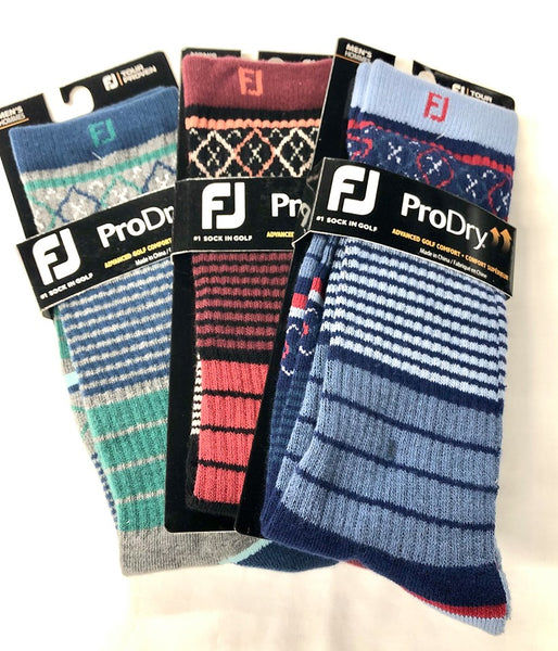 Footjoy ProDry Limited Edition Fashion Crew Golf Diamonds Stripes Fashion Socks Choose Colors - Golf Country Online