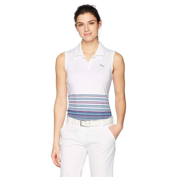 Puma Golf Womens Sleeveless Road Map Polo - Bright White/bright Plasma - Apparel - Tops