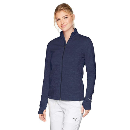 Puma Golf 2018 Womens Heather Full Zip Outwear Peacoat Heather - Cold Weather Apparel
