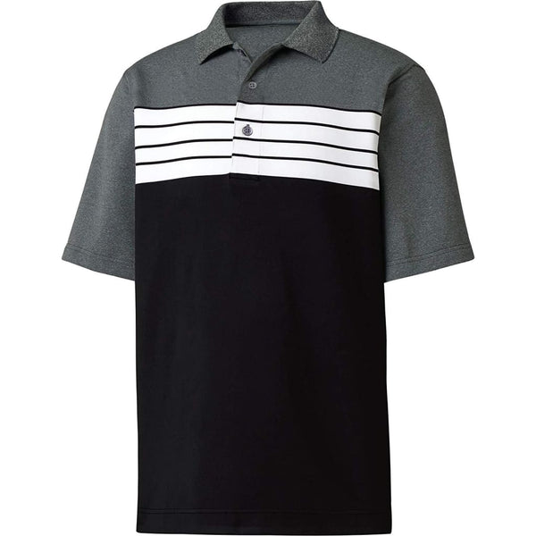 Footjoy Mens Stretch Lisle Color Block Golf Polo (Black/white/charcoal-Small) - Apparel - Tops