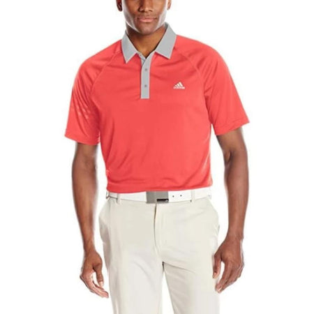 Adidas Golf Mens Climachill: 3-Stripes Polo Shock Red/stone Shirt - Apparel - Tops