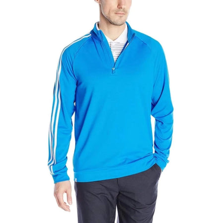 Adidas Golf Mens 3 Stripes 1/4 Zip Layering Top Shock Blue - Cold Weather Apparel