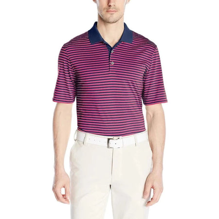 Adidas Golf Mens Performance 3-Color Stripe Polo Shirt Mineral Blue/eqt Pink/stone - Apparel - Tops