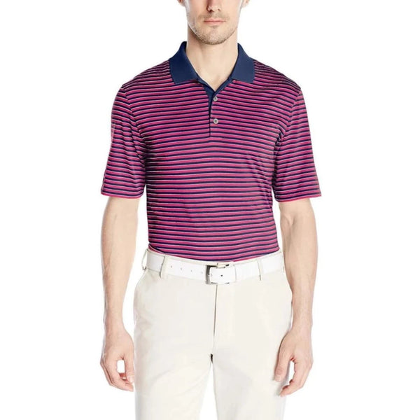 Adidas Golf Men's Performance 3-Color Stripe Polo Shirt, Mineral Blue/Eqt Pink/Stone - Golf Country Online