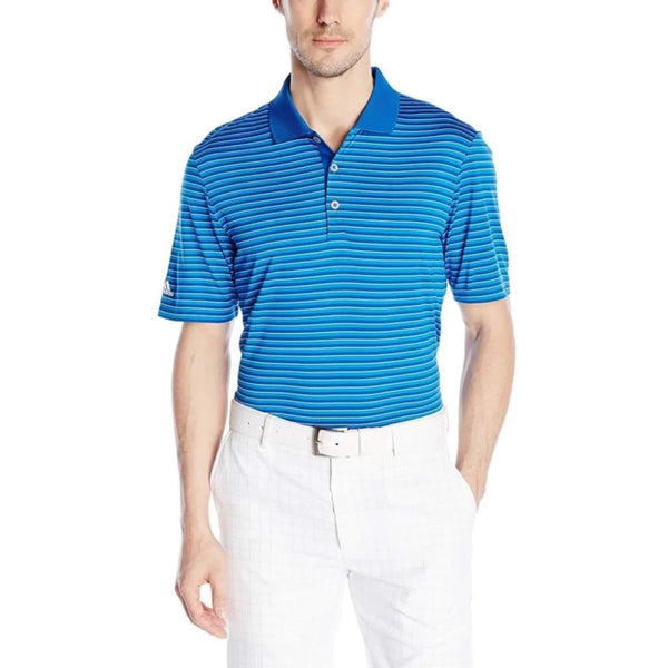 Adidas Golf Men's Performance 3-Color Stripe Polo Shirt, Eqt Blue/Shock Blue/White - Golf Country Online