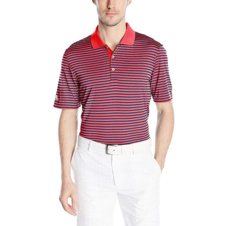 Adidas Golf Mens Performance 3-Color Stripe Polo Shirt Shock Red/mineral Blue/white - Apparel - Tops