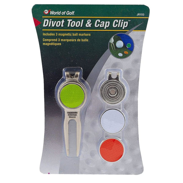 World of Golf Metal Divot Golf Tool and Cap Clip with 3 Ball Markers - Golf Country Online