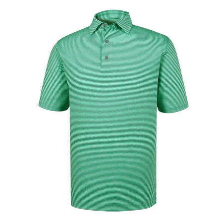 FootJoy Men's Heather Pinstripe Lisle Golf Polo - Spearmint/Navy