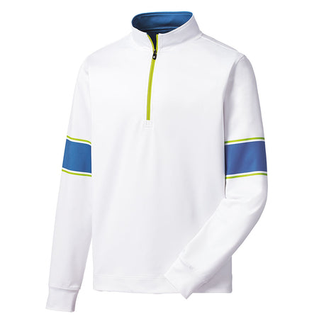FootJoy Men's Performance Engineered Half-Zip - White/Blue Marlin/Citrus
