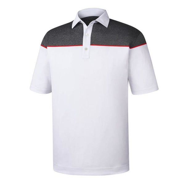 Footjoy Color Block Stretch Pique Golf Shirts With Self Collar - White/red/charcoal - Apparel - Tops