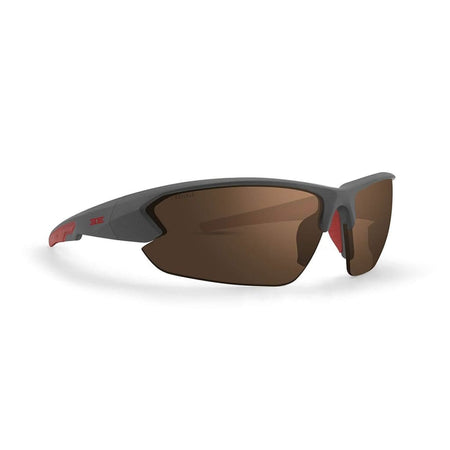 Epoch 4 Golf Sunglasses Gray And Red Frame High Clarity Brown Lens - Sunglasses