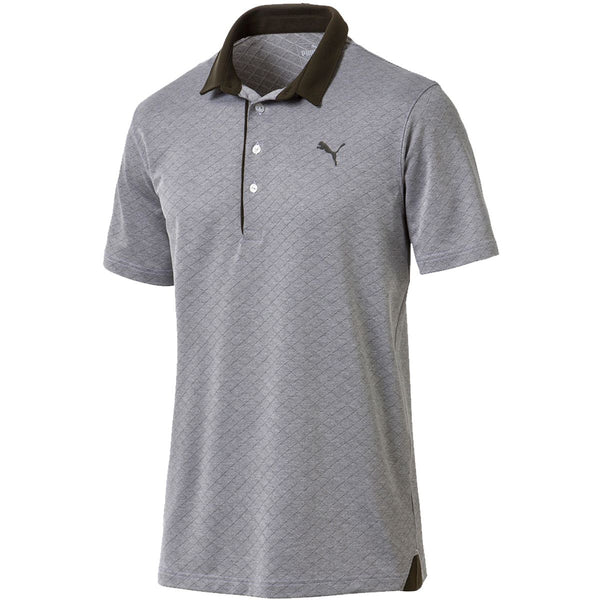 PUMA Golf Men's Diamond Jacquard Polo Shirt (FOREST NIGHT HEATHER) - Golf Country Online