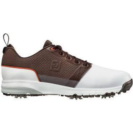 Footjoy Contour Fit Golf Shoes White/brown - 54096 - Golf Shoes