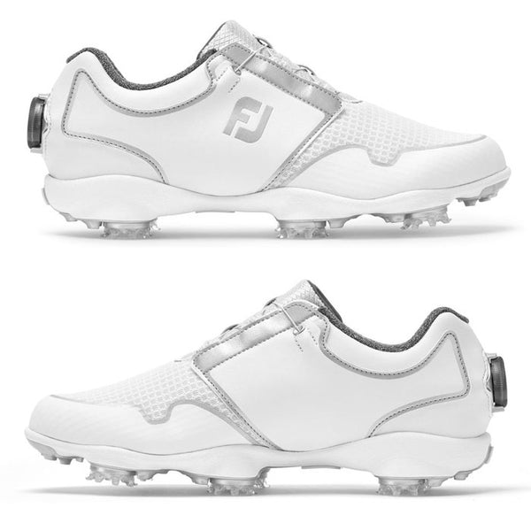 FootJoy Women's Sport TF Boa Golf Shoes-Previous Season, White/Silver #96206 - Golf Country Online