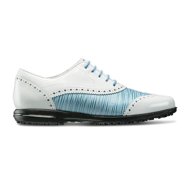 FOOTJOY WOMENS TAILORED COLLECTION GOLF SHOES WHITE/OCEAN BLUE - 91687 (PREVIOUS SEASON) - Golf Country Online