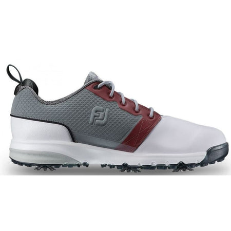 Footjoy Mens Contour Fit Golf Shoes White/grey/crimson 54095 - Golf Shoes