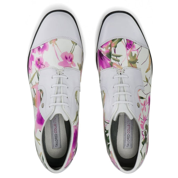 Footjoy Womens Tailored Collection Golf Shoes 2017 White Floral Print 91692 - Golf Shoes