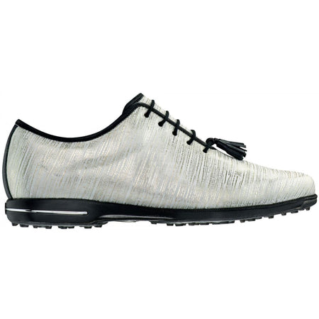 Footjoy Womens Tailored Collection Golf Shoes Gold/white Linen 91690 - Golf Shoes