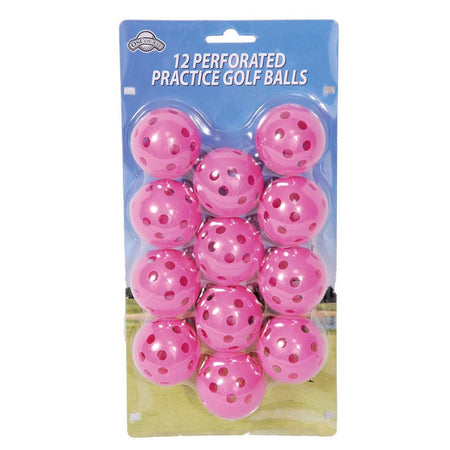 OnCourse Practice Plastic Perforated Golf Balls - 12 Pack - Pink - Golf Country Online