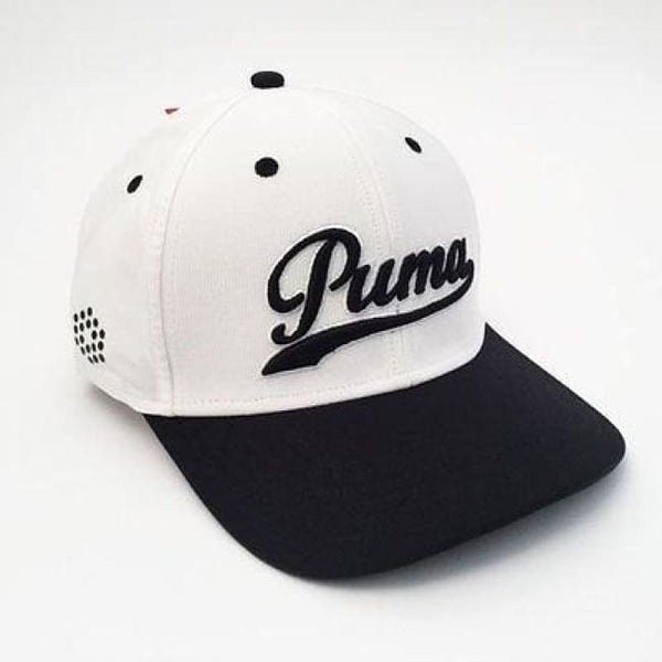 Puma Script Fitted Golf Hats (Multiple Colors) - Small/medium / White/black - Golf Hats