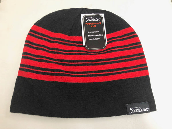Titleist Lifestyle Reversible Knit Moisture Wicking Beanie Hat Red/Black Stripe - Golf Country Online