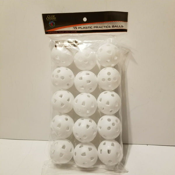 Club Champ 15-Pack Practice Golf Balls with Holes, White
