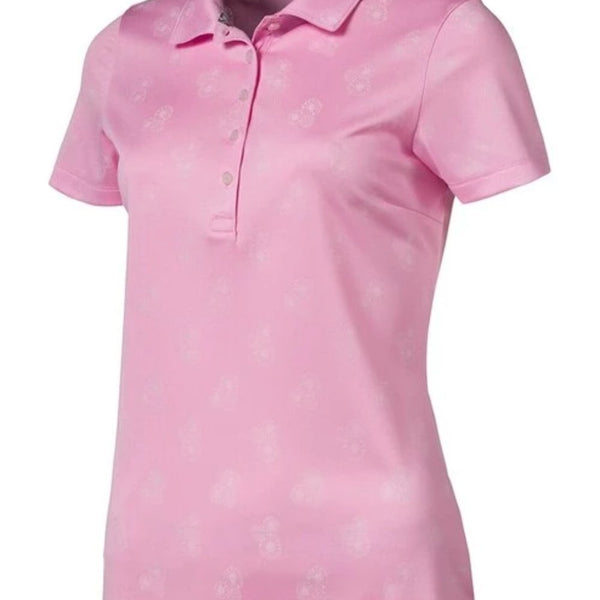 PUMA Golf Women's Burst into Bloom Polo SHIRT TOP - Pale Pink - Golf Country Online