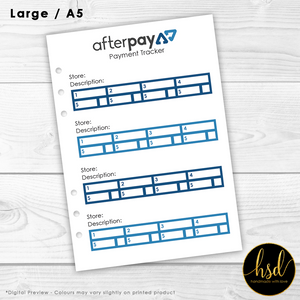Afterpay Payment Tracker | A5 Planner Insert | 5x Double-Sided Pages