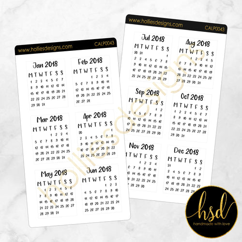 CALP0043 | Mini Calendars | 12 Months | 2-Sheet-Pack [Rectangle]