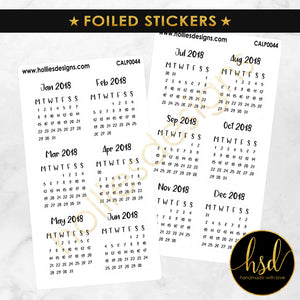 FOILED | CALP0044 | Mini Calendars | 12 Months | 2-Sheet-Pack [Square]