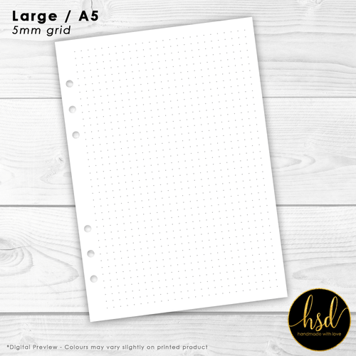 Dot Grid (5mm) | A5 Planner Insert | 10+ Double-Sided Pages