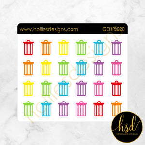 GENP0020 | Outline Reminder Icons | Rubbish Bin | 2 Colour Options