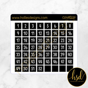 CALP0039 | Date Cover Squares | 52 Weeks | Black & White