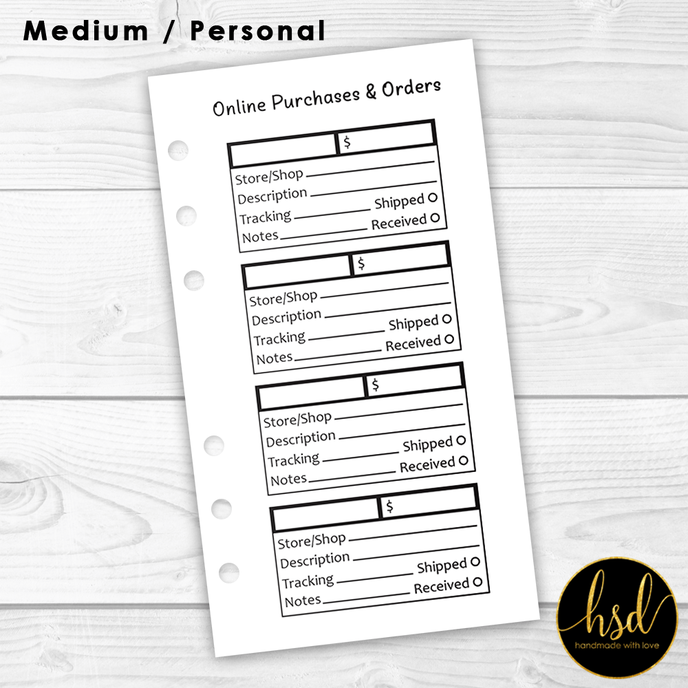 Online Purchases & Orders | Personal Planner Insert | Black & White | 10x Double-Sided Pages
