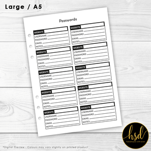 Passwords Tracker | A5 Planner Insert | Black & White | 5x Double-Sided Pages