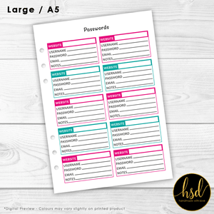Passwords Tracker | A5 Planner Insert | Pink & Teal | 5x Double-Sided Pages