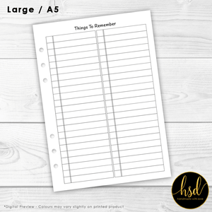 Things to Remember - Brain Dump | A5 Planner Insert | 5x Double-Sided Pages
