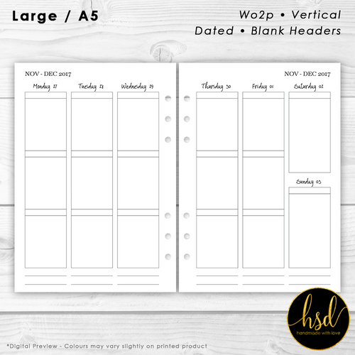 Week on 2 pages | A5 Planner Insert | Vertical - Blank Headers | Multiple Layout Options
